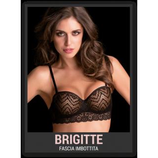 Love&bra Reggiseno Brigitte modello Fascia in pizzo con imbottitura graduata Nero-Natural